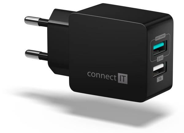 Nabíječka do sítě Connect IT Fast Charge 2x USB, 3,4A s funkcí rychlonabíjení (CWC-2015-BK) černá
