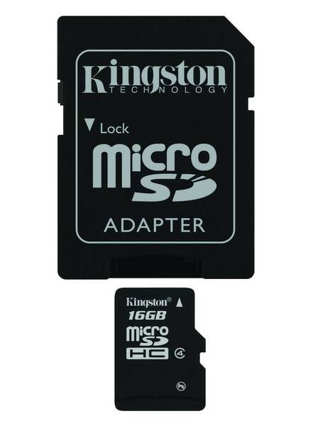 Pamäťová karta Kingston MicroSDHC 16GB Class 4 + adapter (SDC4/16GB)