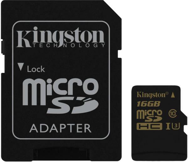 Pamäťová karta Kingston MicroSDHC 16GB UHS-I U3 (90R/45W) + SD adapter (SDCG/16GB) čierna