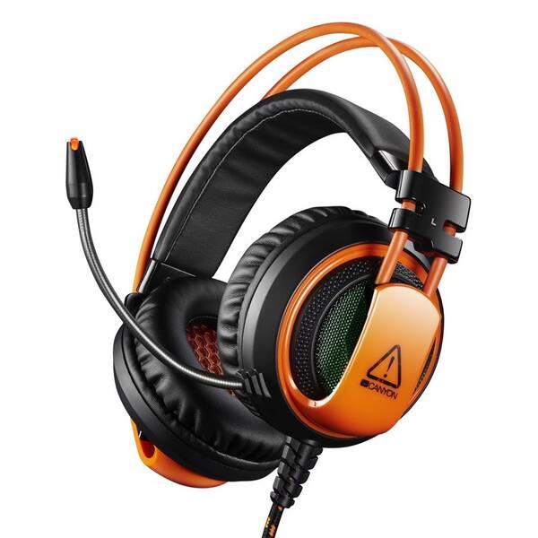 Headset Canyon CND-SGHS5, USB + 3,5mm jack (CND-SGHS5) černý/oranžový