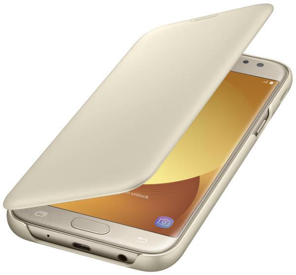 Pouzdro na mobil flipové Samsung Wallet Cover pro J5 2017 (EF-WJ530C) (EF-WJ530CFEGWW) zlaté