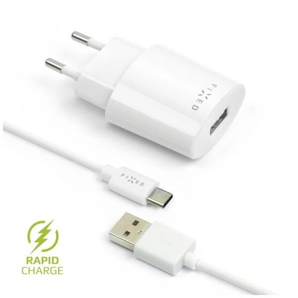 Nabíječka do sítě FIXED 1x USB, 2,4A + USB-C kabel (FIXC-UC-WH) bílá