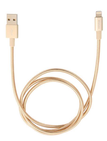Kabel Verbatim Sync & Charge USB/Lightning, 1m, MFi, nerezová ocel (48861) zlatý (vrácené zboží 8800377522)