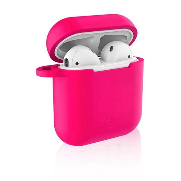 Pouzdro Celly Aircase pro Apple AirPods + nástavce do uší - fuchsiové (AIRCASEFX)
