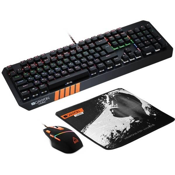 Klávesnice s myší Canyon Nightflyer s podložkou pod myš, US layout (CND-SGS02-US) černá/oranžová