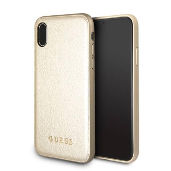 Kryt na mobil Guess Iridescent pro iPhone X (GUHCPXIGLGO) zlatý