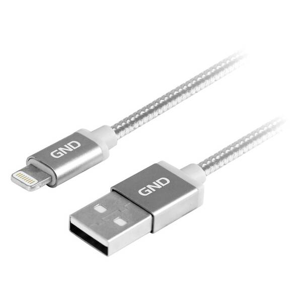 Kabel GND USB / lightning MFI, 2m, opletený (LIGHTN200MM08) titanium