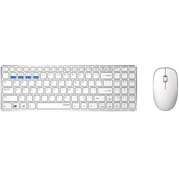 Klávesnica s myšou Rapoo 9300M, CZ/SK layout (6940056184740) biela