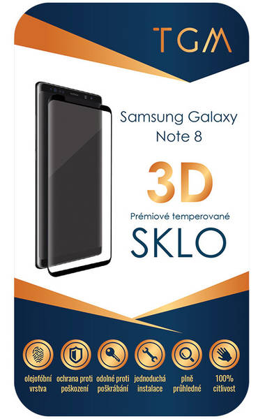 Ochranné sklo TGM 3D pro Samsung Galaxy Note 8 (TGM3DSGN8BK) černé (Náhradní obal / Silně deformovaný obal 8919022389)