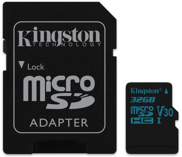 Pamäťová karta Kingston Canvas Go! MicroSDHC 32GB UHS-I U3 (90R/45W) + adapter (SDCG2/32GB)