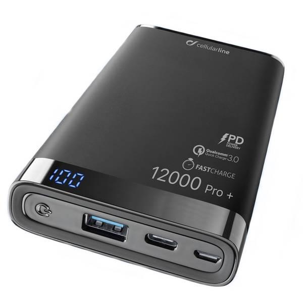 Powerbank CellularLine Freepower Manta Pro+ 12000mAh, QC 3.0, USB-C (FREEPMANTA12QCCPDK) černá