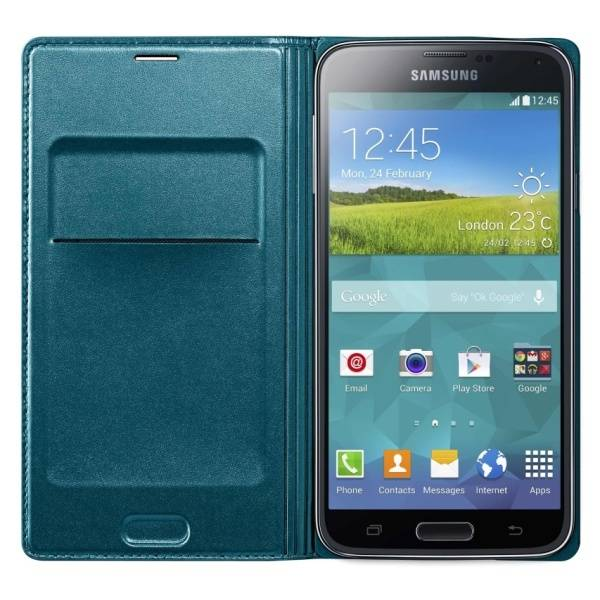 Púzdro na mobil flipové Samsung pro Galaxy S5 s kapsou  (EF-WG900BG) - topaz (EF-WG900BGEGWW)
