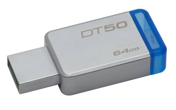 USB flash disk Kingston DataTraveler 50 64GB (DT50/64GB) modrý/kovový