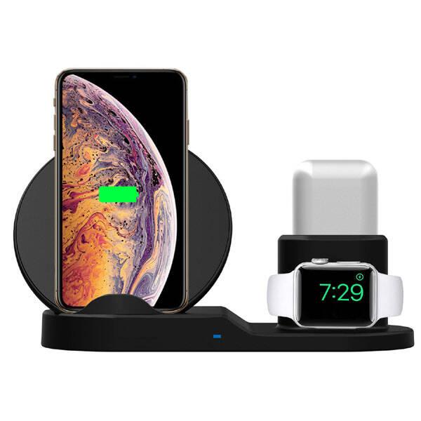 Bezdrátová nabíječka LAMA pro telefon, Apple Watch a Airpods, 15W černá