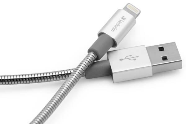 Kabel Verbatim Sync & Charge USB/Lightning, 1m, MFi, nerezová ocel (48859) stříbrný