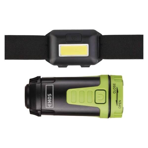 Čelovka EMOS Sada LED čelovky a kempingové LED svítilny (1447016100)