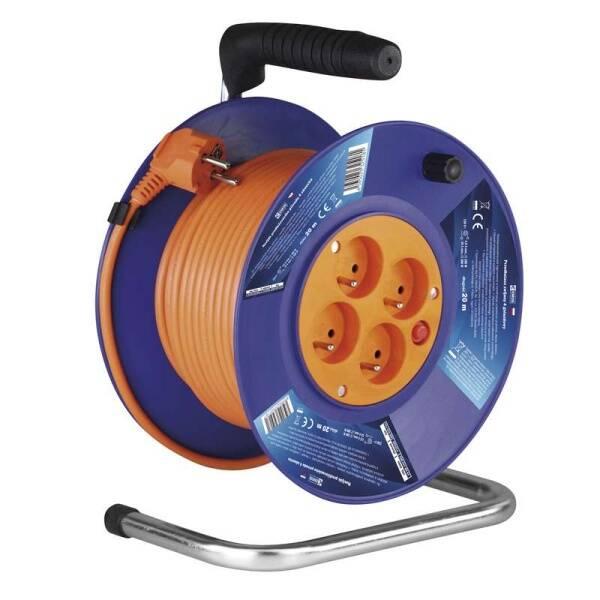 Kabel prodlužovací na bubnu EMOS 4x zásuvka, 20m (1908142001) oranžový