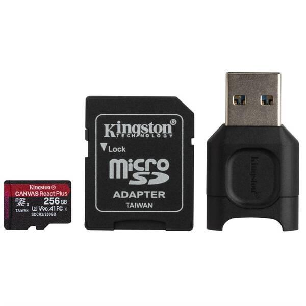 Paměťová karta Kingston Canvas React Plus MicroSDXC 256GB UHS-II U3 (285R/165W) + adaptér + čtečka (MLPMR2/256GB)
