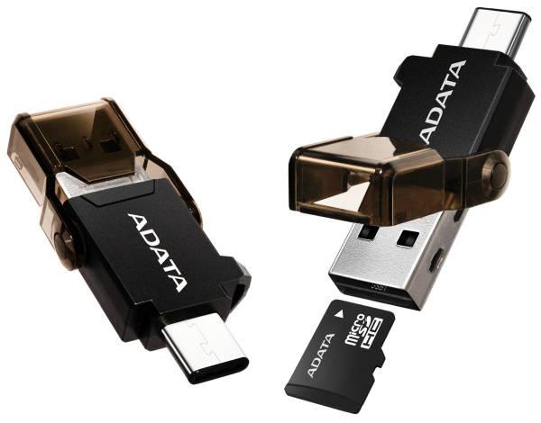 Čítačka pamäťových kariet ADATA s duálním konektorem (USB-C + USB 3.1) (ACMR3PL-OTG-RBK) čierna