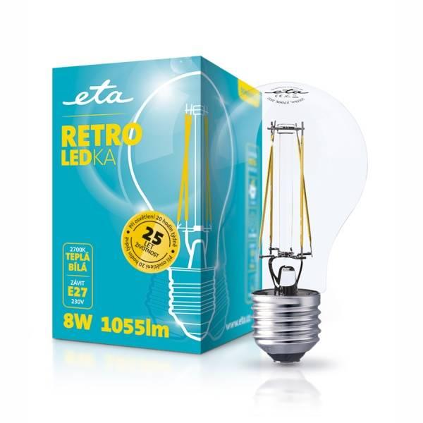 Žárovka LED ETA RETRO LEDka klasik, 8W, E27, teplá bílá (ETA789090008)