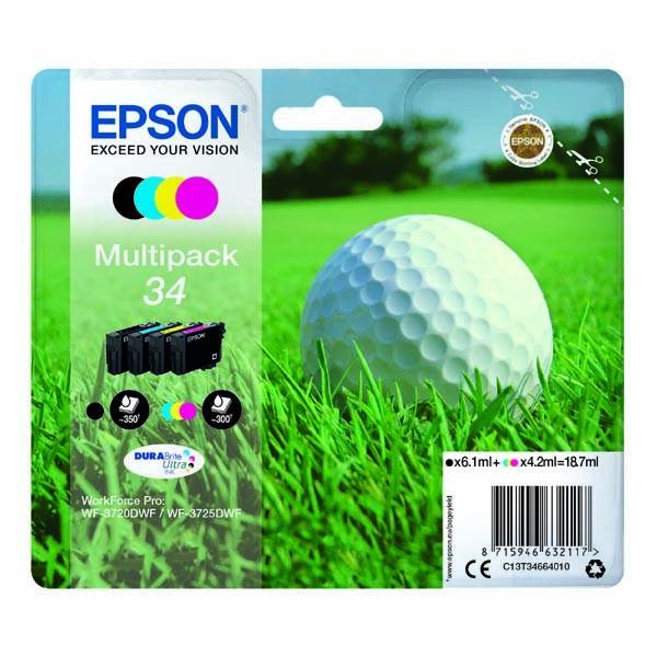 Inkoustová náplň Epson 34, 300/350 stran, CMYK (C13T34664010)