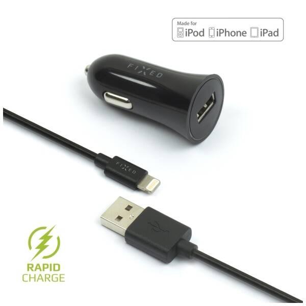 Adaptér do auta FIXED 1x USB, 2,4A + Lightning kabel (FIXCC-UL-BK) černý