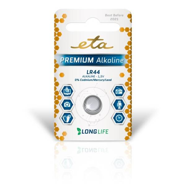 Baterie alkalická ETA PREMIUM ALKALINE LR44, blistr 1ks (LR44PREM1)