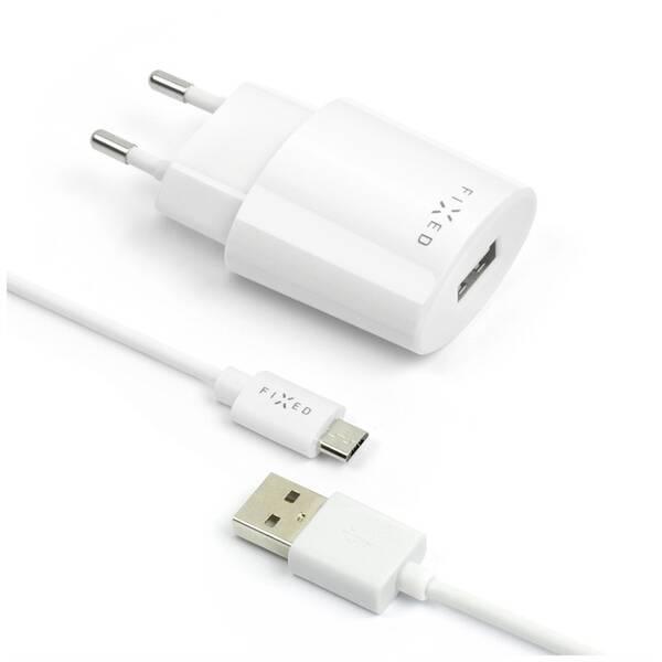 Nabíječka do sítě FIXED 1x USB, 2,4A + micro USB kabel (FIXC-UM-WH) bílá