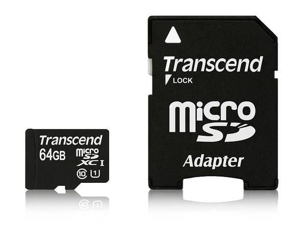 Paměťová karta Transcend MicroSDXC Premium 64GB UHS-I U1 (45MB/s) + adapter (TS64GUSDU1)