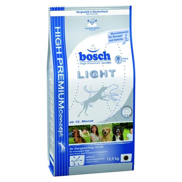 Granule Bosch Light 12,5 kg, kompletní krmivo pro dospělé psy s nadváhou.