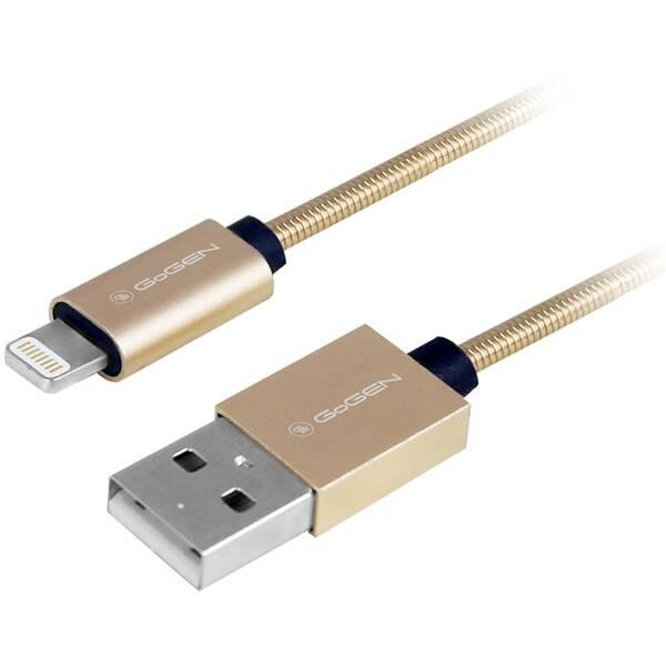 Kabel GoGEN USB / lightning, 1m, ocelový, opletený (LIGHTN100MM21) zlatý