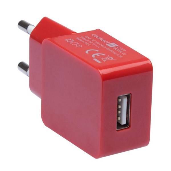 Nabíječka do sítě Connect IT COLORZ USB, 1A (CI-594) červená