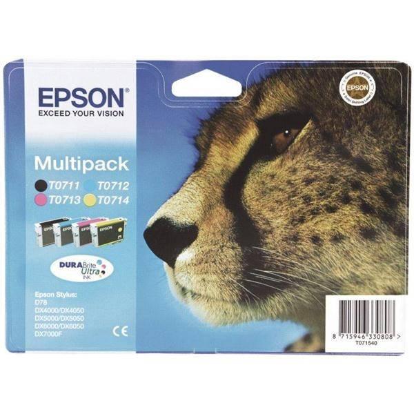 Inkoustová náplň Epson T0715, 3x 6ml, 1x 7ml - originální (C13T07154010) černá/červená/modrá/žlutá