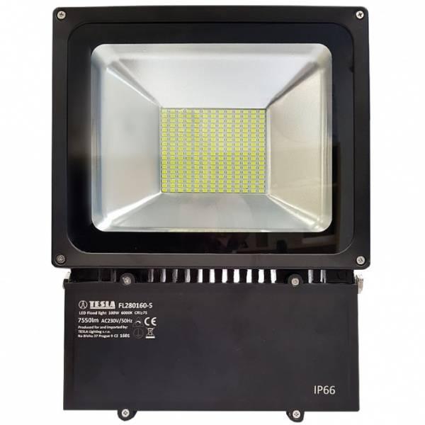 LED reflektor Tesla 100W, studená bílá, 7500lm, vysoce svítívý (FL280160-5) černý