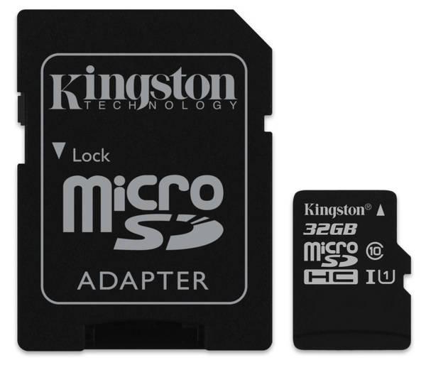 Paměťová karta Kingston MicroSDHC 32GB UHS-I U1 (45R/10W) + adapter (SDC10G2/32GB)