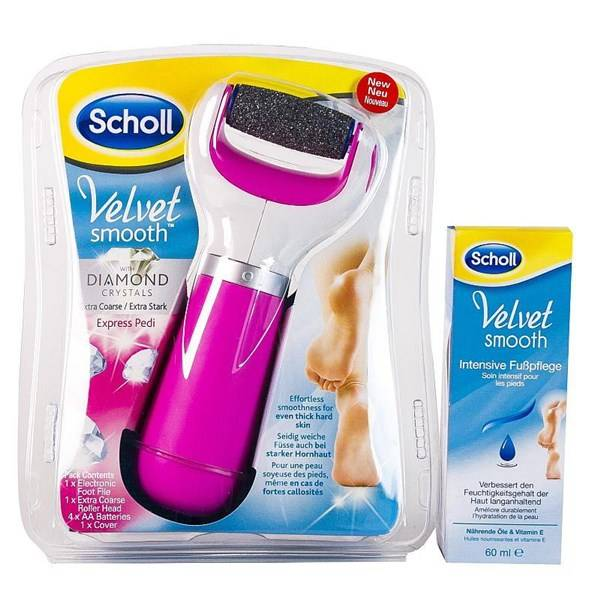 Elektrický pilník na chodidlá Scholl Velvet Smooth + krém ružová