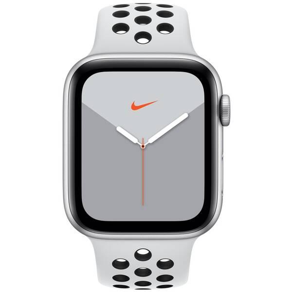 Chytré hodinky Apple Watch Nike Series 5 GPS 44mm pouzdro ze stříbrného hliníku - platinový/černý sportovní řemínek Nike (MX3V2HC/A)