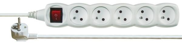 Kabel prodlužovací EMOS 5x zásuvka, 2m, vypínač (1902150200) bílý