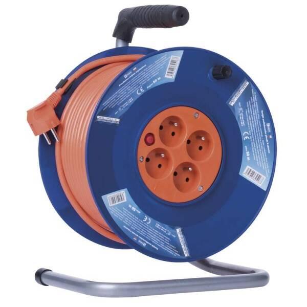 Kabel prodlužovací na bubnu EMOS 4x zásuvka, 50m (1908045001) oranžový