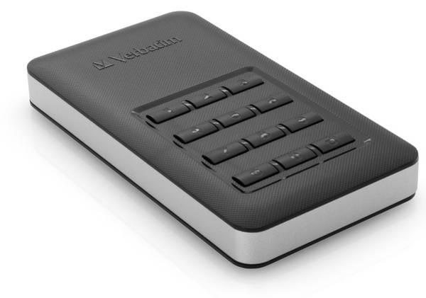 SSD externí Verbatim Store 'n' Go 256GB, s numerickou klávesnicí pro šifrování stříbrný/šedý (poškozený obal 3000005341)