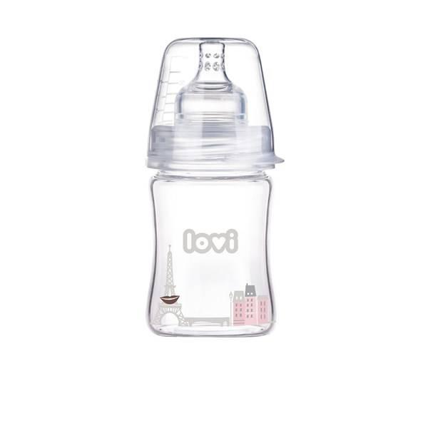 Dojčenská fľaška LOVI Diamond Glass 150ml Retro girl čirá/růžová