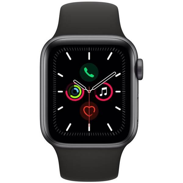 Chytré hodinky Apple Watch Series 5 GPS 40mm pouzdro z vesmírně šedého hliníku - černý sportovní řemínek (MWV82HC/A)