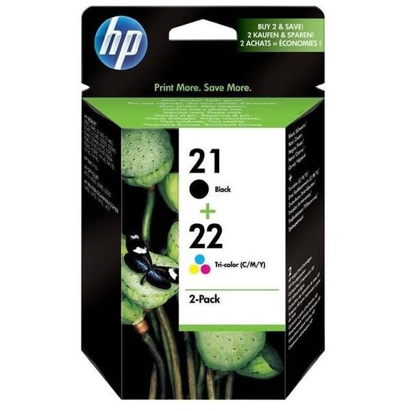 Inkoustová náplň HP No. 21+22, 2 pack, 190/165 stran - originální (SD367AE) černá