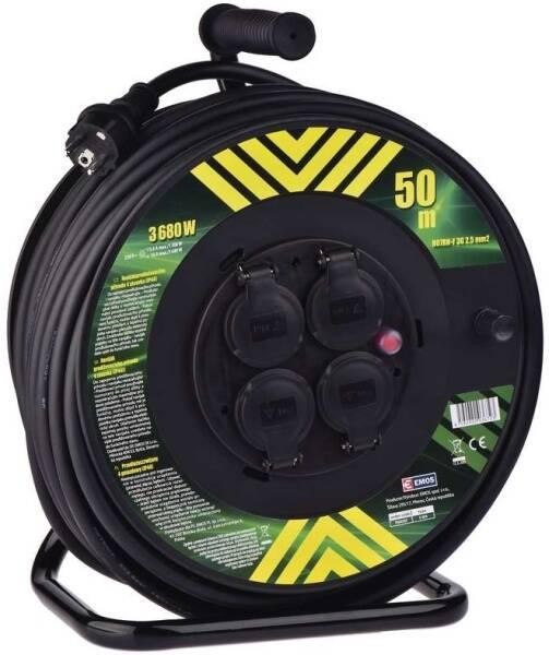 Kabel prodlužovací na bubnu EMOS 4x zásuvka, 50m, neopren (1908545000) černá