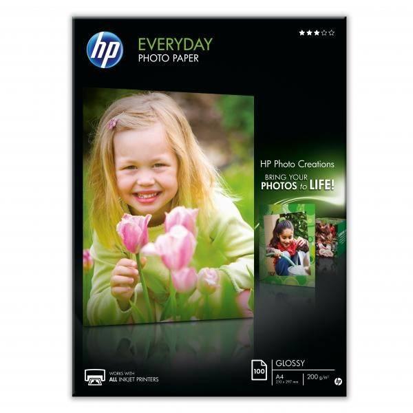 Fotopapier HP Everyday Glossy, lesklý, bílý, A4, 200 g/m2, 100 ks (Q2510A) biely
