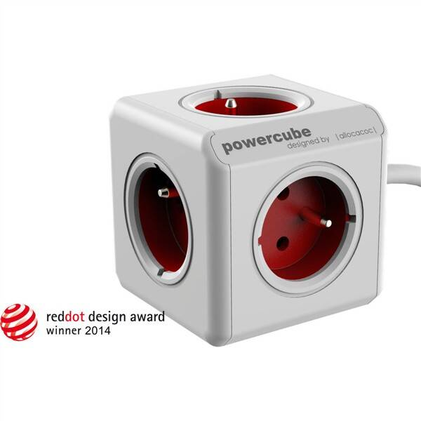 Kábel predlžovací Powercube Extended, 5x zásuvka, 1,5m biely/červený