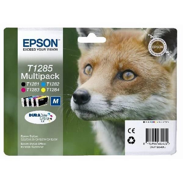 Inkoustová náplň Epson T1285, 16,4ml - originální (C13T12854010) černá/červená/modrá/žlutá