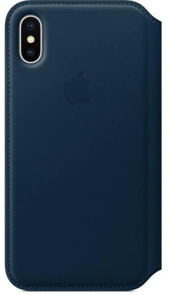 Púzdro na mobil flipové Apple Leather Folio pro iPhone X - vesmírně modré (MQRW2ZM/A)