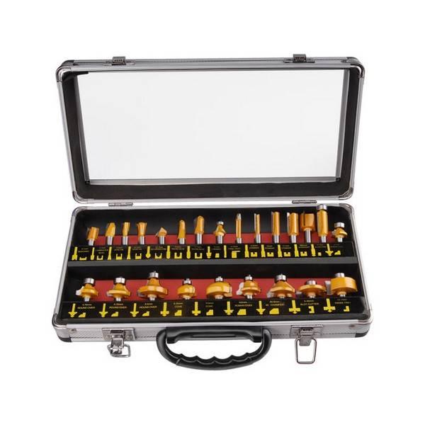 Sada fréz EXTOL PREMIUM 44039, do dřeva s SK plátky, 24 ks v kovovém kufru ocel
