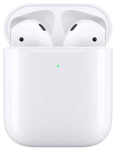 Sluchátka Apple AirPods, bezdrátové nabíjení (2019) (MRXJ2ZM/A) bílá
